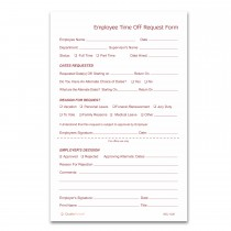 Pack of 100 Sets 2 Part NCR Carbonless Time Off Request Forms