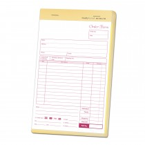 5-1/2 x 8-1/2 Carbonless 2 Part Order Forms, Bound Wraparound Cover, White/Canary, 50 Sets per Book.