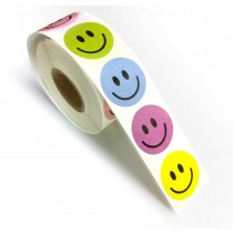 "Smiley Labels Assorted Color 500 Labels, 1"" Round"