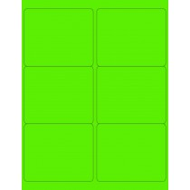 "8-1/2"" x 11"" Fluorescent Green 6 Labels per Sheet 4 x 3-1/3"