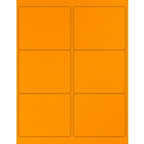"8-1/2"" x 11"" Orange Fluorescent 6 Labels per Sheet 4 x 3-1/3"""