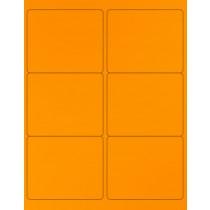 "8-1/2"" x 11"" Orange Fluorescent 6 Labels per Sheet 4 x 3-1/3"""