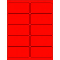 "8-1/2"" x 11"" Red Fluorescent 10 Labels per Sheet 4 x 2"