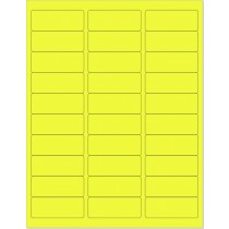 "8-1/2"" x 11"" Yellow Fluorescent 30 Labels per Sheet 1"" x 2-5/8"""