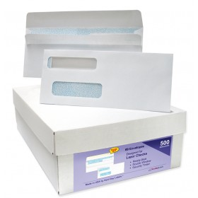 Double Window Envelopes Self Seal with Security Tint Inside, Compatible with Quickbook and other Checks