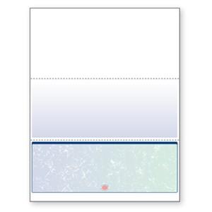 Blank Laser Bottom Check Paper, Blue/Green Prismatic