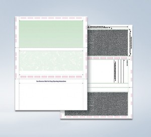 8 1/2″ x 11″ Pressure Seal Security Check Form with Green Void, Z Fold
