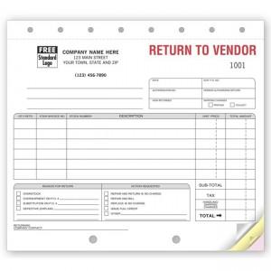 """Return to Vendor Form,  8 1/2 X 7"""""""