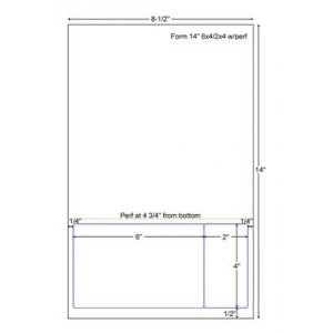 """Integrated Label Form 8-1/2 x 14"""" Laser Sheet 1 Horizontal Perforation Label Size - 6 x 4 Label Size - 2 x 4"""