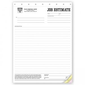 "Job Estimate Forms, 8 1/2 X 11"""