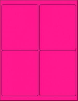 "8-1/2"" x 11"" Pink Fluorescent 4 Labels per Sheet 4 x 5"
