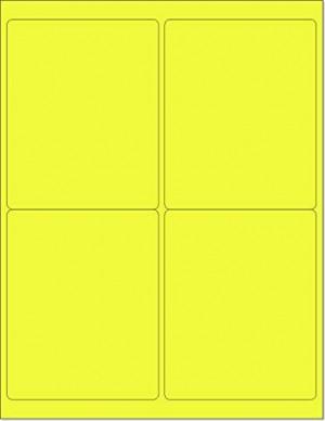 "8-1/2"" x 11"" Yellow Fluorescent 4 Labels per Sheet 4 x 5"