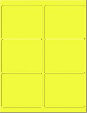 "8-1/2"" x 11"" Yellow Fluorescent 6 Labels per Sheet 4 x 3-1/3"
