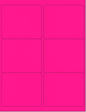 "8-1/2"" x 11"" Pink Fluorescent 6 Labels per Sheet 4 x 3-1/3"