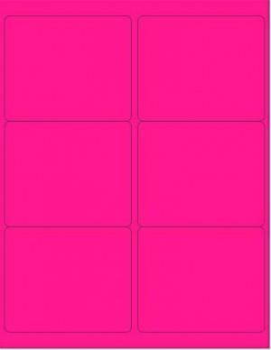 "8-1/2"" x 11"" Pink Fluorescent 6 Labels per Sheet 4 x 3-1/3"