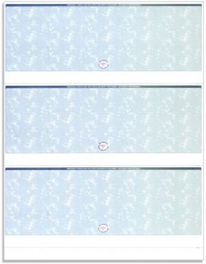 Blank Laser Checks, 3 per Page, Blue/Green Prismatic