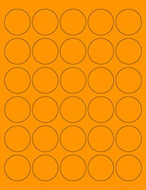 "8-1/2"" x 11"" Orange Fluorescent 30 Labels per Sheet 1.5"" Round"