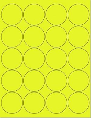 "8-1/2"" x 11"" Yellow Fluorescent 20 Labels per Sheet 2"" Round"