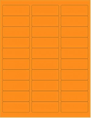 "8-1/2"" x 11"" Orange Fluorescent 30 Labels per Sheet 1"" x 2-5/8"""