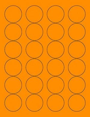 """8-1/2"""" x 11"""" Fluorescent Orange 24 Labels per Sheet 1.66"""" Round"""