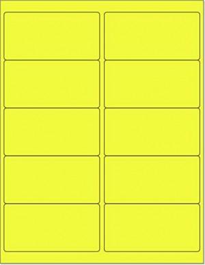 "8-1/2"" x 11"" Yellow Fluorescent 10 Labels per Sheet 4 x 2"