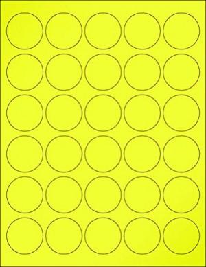 "8-1/2"" x 11"" Yellow Fluorescent 30 Labels per Sheet 1.5"" Round"