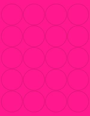 "8-1/2"" x 11"" Pink Fluorescent 20 Labels per Sheet 2"" Round"