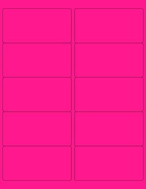 "8-1/2"" x 11"" Pink Fluorescent 10 Labels per Sheet 4 x 2"
