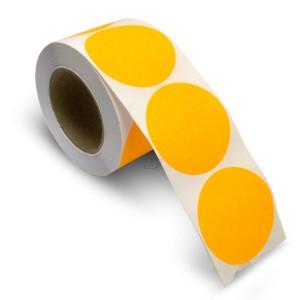 "3"" Circle Color Stickers, 500 Permanent Labels, 3"" Core, Orange Fluorescent"