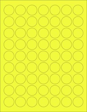 "8-1/2"" x 11"" Yellow Fluorescent 63 Labels per Sheet 1"" Round"