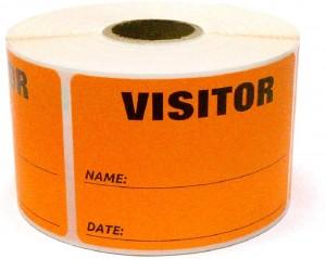 """3"""" x 2"""" Labels Pass 500 Labels  Orange """"Visitor """" Labels  1"""" Core"""