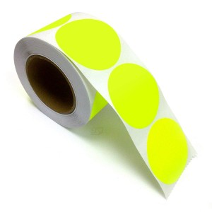 """2"""" Circle Color Stickers, 500 Permanent Labels, 3"""" Core, Yellow Fluorescent"""