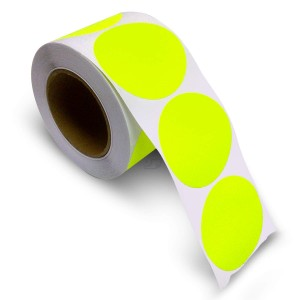 """3"""" Circle Color Stickers, 500 Permanent Labels, 3"""" Core, Yellow Fluorescent"""