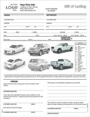 Auto Condition Form with Car / Van / SUV
