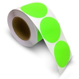 "3"" Circle Color Stickers, 500 Permanent Labels, 3"" Core, Green Fluorescent"