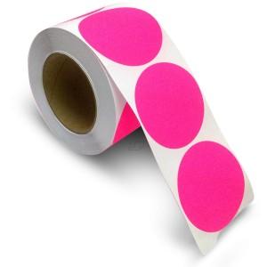 "3"" Circle Color Stickers, 500 Permanent Labels, 3"" Core, Pink Fluorescent"