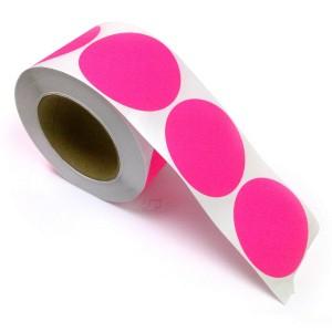"2"" Circle Color Stickers, 500 Permanent Labels, 3"" Core, Pink Fluorescent"