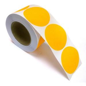 "2"" Circle Color Stickers, 500 Permanent Labels, 3"" Core, Orange Fluorescent"