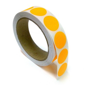"1"" Circle Color Stickers, 500 Permanent Labels, 3"" Core, Orange Fluorescent"