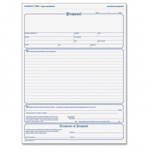 "Proposal Form, Carbonless, 8 1/2 X 11"""