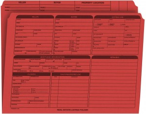 Real Estate Folder Right Panel List Letter Size, Red