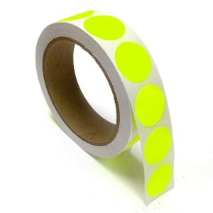 """1"""" Circle Color Stickers, 500 Permanent Labels, 3"""" Core, Yellow Fluorescent"""