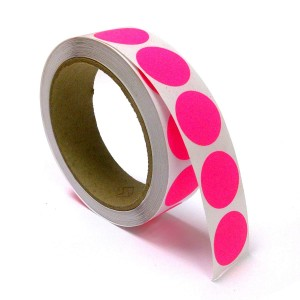 "1"" Circle Color Stickers, 500 Permanent Labels, 3"" Core, Pink Fluorescent"