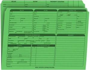 Real Estate Folder Right Panel List Letter Size, Green