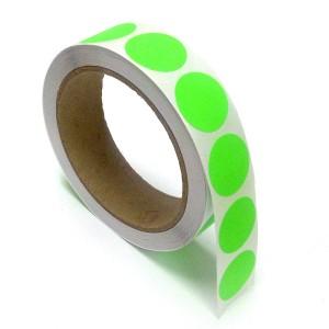 "1"" Circle Color Stickers, 500 Permanent Labels, 3"" Core, Green Fluorescent"