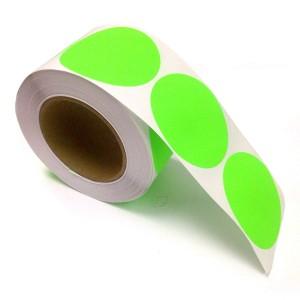 "2"" Circle Color Stickers, 500 Permanent Labels, 3"" Core, Green Fluorescent"
