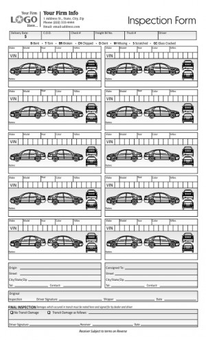 Vehicle Inspection Form with 10 Cars
