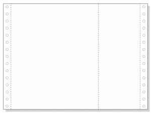 "9-1/2 x 7"" Continuous Paper, White,1 Part, With Extra Vertical Perforation"