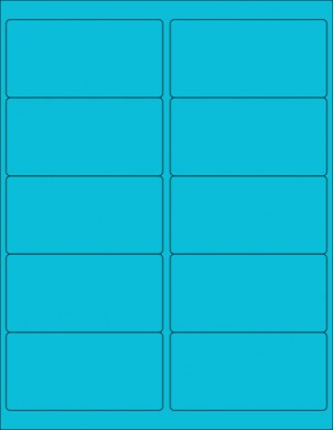 "8-1/2"" x 11"" Blue Fluorescent 10 Labels per Sheet 4 x 2"