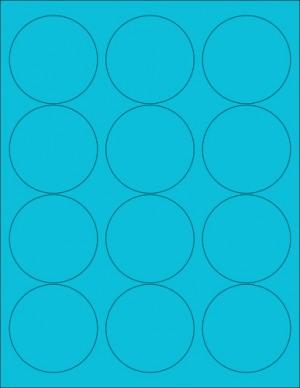 "8-1/2"" x 11"" Blue Fluorescent 12 Labels per Sheet 2.5"" Round"
